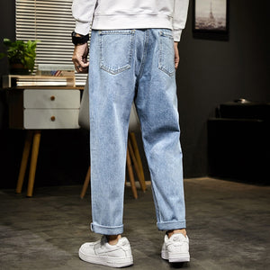 Mens Jeans Wide Leg Pants Straight Cut Loose Fit Light Blue Ankle-Length Pants Male Denim Casual Men's Clothing Trousers Man