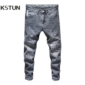 Mens Ripped Skinny Jeans Grey Light Blue Elasticity High Street Wear Hip Hop Patchwork Biker Jeans Male Denim Pants Frayed Homme