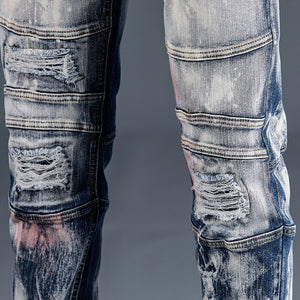 Moto & Biker Jeans Men Feaded Distressed Jeans Male Vintage Slim Fit Stretch Hip Hop Ripped Pants Patchwork Destroyed Trousers