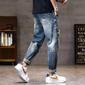 Motorcycle Jeans Men Harem Pants Summer Loose Fit Destroyed Holes Baggy Streetwear Ripped Jeans Men Wide Leg Oversized Pants