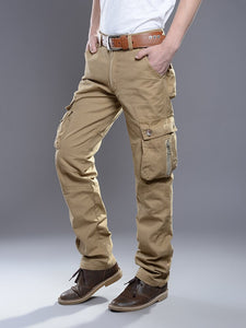 New Cargo Pants for Men Baggy Casual Pants Male Overalls Full Length Trousers Loose Straight Cut Pants Zippers Pockets Desinger