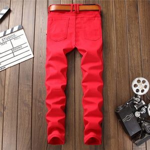 Red Jeans Men Skinny Slim Stretch Biker Jeans Pants 2021 Spring Fashion Hidden Zippers Pockets Pleated Men's Trousers No Belt