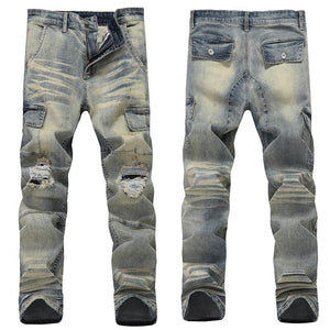 Ripped Jeans For Men Slim Fit Blue Stretch Multi Pockets Distressed Streetwear Vintage Men's Motorcycle Pants Punk Jeans Male
