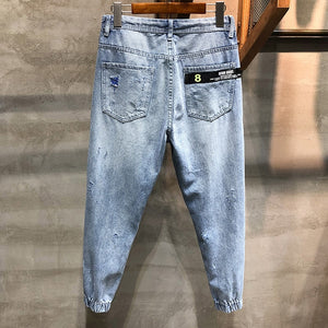 Ripped Jeans Men Cropped Pants Light Blue Cotton Hip hop Korean Style Jogger Jeans Drawstring Waist and Baggy Legs Distressed