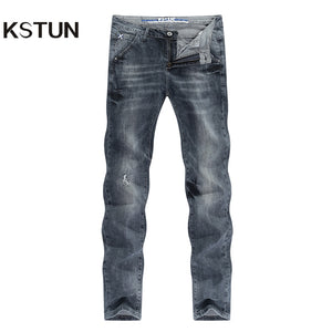 Ripped Jeans for Men Gray Stretch Streetwear Slim Fitness Ultrathin Breathable Casaul Denim Pants Hip hop Male Biker Jeans 2020