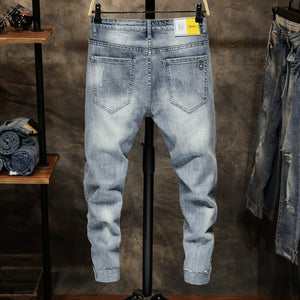Ripped Jeans for Men Skinny Slim Fit  Light Blue  Cropped Stretchy Streetwear Patterns Designer Denim Pants Motorcycle Jeans