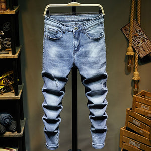 Ripped Jeans for Men Slim Fit Light Blue Stretchy Fashion Mens Torn Jeans rip Moto Biker Jeans Pants Men Trousers Hip Hop Boys