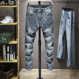 Skinny Jeans Men Gray Stretch Spring and Autumn Slim Fit Denim Pants Casual Male Long Trousers High Quality Famous Brand Jeans