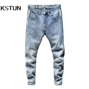 Skinny Jeans Men Light Blue Stretch 2020 Spring Fashion Streetwear Casual Denim Pants Jeans Men's Clothing Long Trousers Cowboys