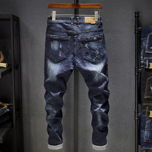 Slim Fit Jeans Men Stretch Dark Blue Spring and Autumn Denim Pants Casual Full Length Trousers Male Jeans Homme