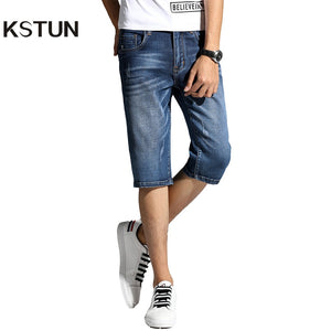 Summer Shorts Jeans for Men New Arrivals Elastic Blue Scratched Fashion Pockets Denim Shorts Jeans Man Slim Fit Casaul Shorts