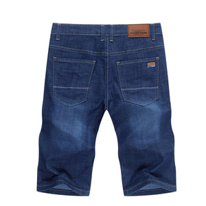 Summer Shorts Men Jeans Straight Solid Blue Stretch Thin Regular Fit Business Casual Breathable Soft Material Mens Short Jeans