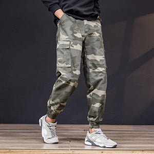 Top Quality Camouflage Cargo Pants Men 100% Cotton Loose Fit Military Pants Khaki Pants Casual Man Trousers Streetwear Joggers