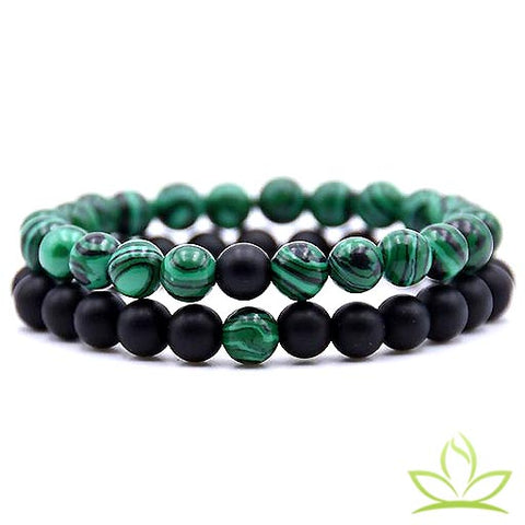 bracelet couple en malachite
