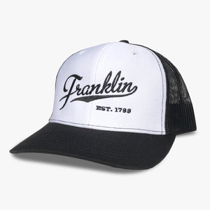 franklin tn trucker hat franklin script hat white black