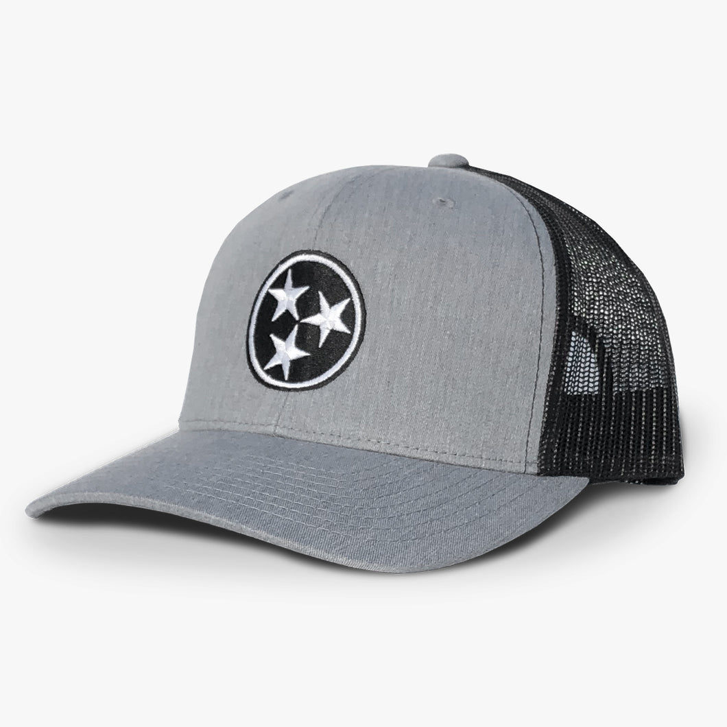 Tennessee Tristar Trucker Hat Tennessee Tri Star Flag Hat Gray Black Wholesale Tennessee Hats