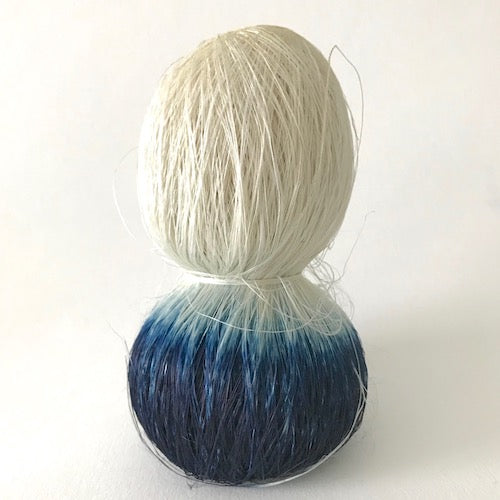 aos-18 naturally dyed indigo hand tied twisted ramie