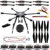 QWinOut DIY ZD850 Frame Kit with Landing Gear 620KV Motor 40A Brushless ESC Propellers XT60 Plug +Hub for RC 6-axle Hexacopter