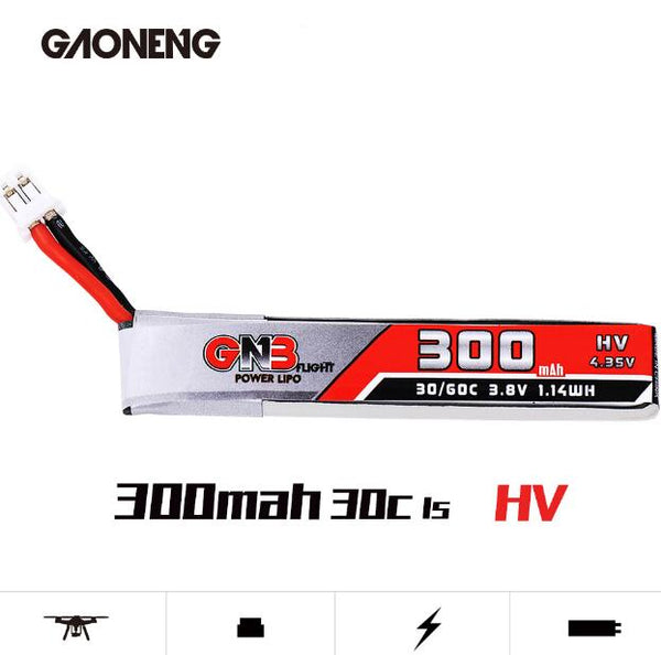 Gaoneng GNB 300MAH 3.8V 30C 1S Lipo Battery HV 4.35V PH2.0 Plug with Cable for Indoor Brushless FPV Racing Drone Snapper6/Snapper7/Snapper8 /Mobula7 URUAV UR65 Eachine UK65/US65 BetaFPV 65 /75