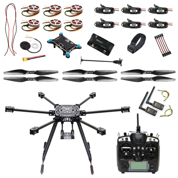QWinOut ZD850 DIY Drone Kit 850mm Full Carbon Fiber Umbrella Airframe with APM2.8 Flight Control M8N GPS 350KV Motor 2-6S 40A ESC Quadcopter UFO Drone