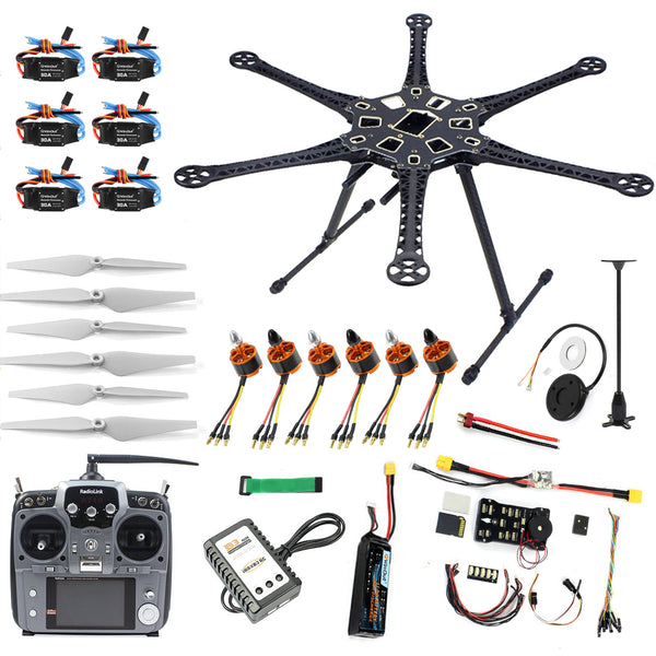 QWinOut DIY FPV Drone Hexacopter 6-axle Aircraft Kit HMF S550 Frame PXI PX4 Flight Control 920KV Motor GPS AT10 Transmitter