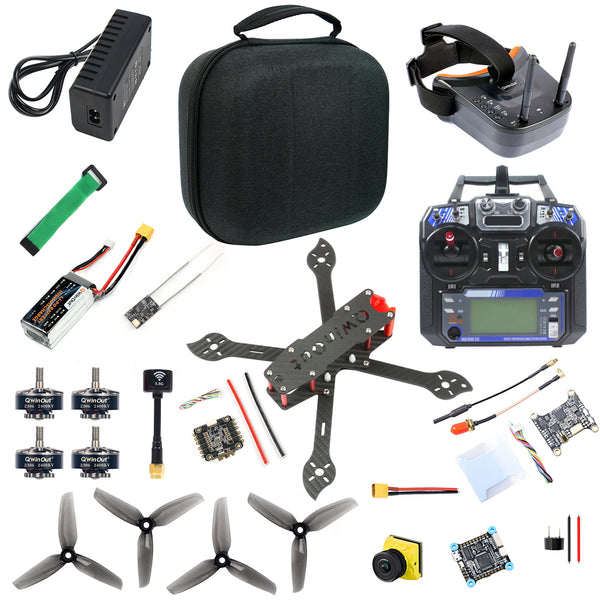 QWinOut three225 225mm Airframe with F4 Betaflight 5V 8V 3A Dual BEC OSD FC 1200TVL ND filter Camera 2306-2400kv Motors 4-in-1 BLHeli-S Dshot600 ESC 5144 Propellers 11.1V 1500MAH 40C Battery&Charge Flysky FS I6 6CH TX&Receiver DIY Drone Kit ARF