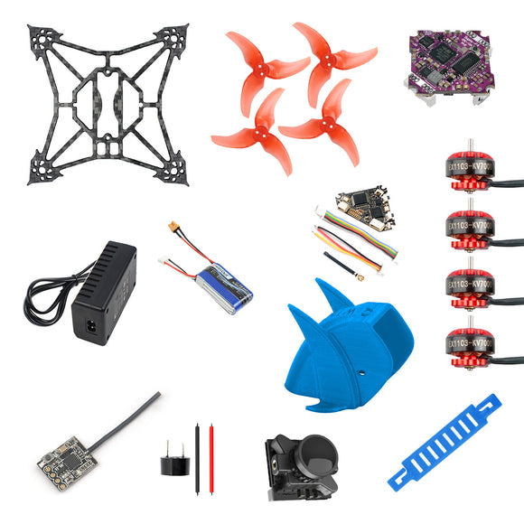 QWinOut T100 DIY FPV Racing Drone ARF Kit with Supra F4-12A F4 Flight Control EX1103 2-4S Motor Razer Micro FPV Camera FS-RX2A Pro Receiver