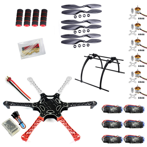 QWinOut DIY F550 Drone Flame Kit With QQ HY ESC Motor Carbon Fiber Propellers + A2212 1000KV Brushless Motor + Tall Landing Skid PTZ