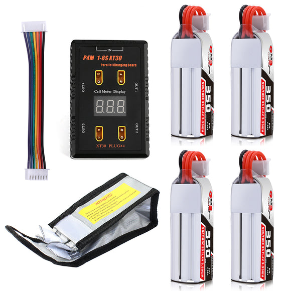 RCHARLANCE P4 1-6S XT30 Parallel Charging Board with 4PCS GNB 350mAh 3S HV 11.4V 50C Lipo Battery Safety Bag for FPV Racing Drone Cinewhoop Toothpick