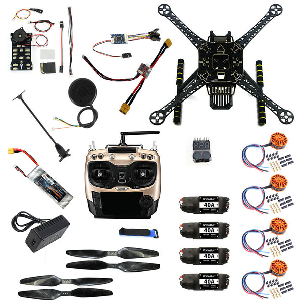 QWinOut DIY RC Drone Full Kit S600 Frame PIX 2.4.8 Flight Control 40A ESC 700KV Motor AT9S TX with Battery Charger XT60 Plug