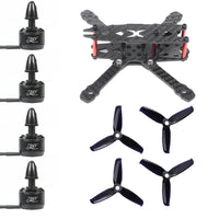 QWinOut FS135 135mm Carbon Fiber Frame Kit with 1306 3100KV CW / CCW Brushless Motor 3052 3-blade Propeller for DIY RC Drone FPV Quadcopter