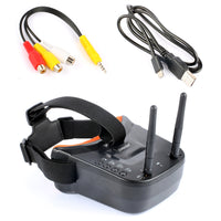 QWinOut 5.8G 40CH Mini FPV Goggles 3 inch 480 x 320 Display Double Antenna Reception with 85mm FPV Antenna for FPV Racing Drone Quadcopters