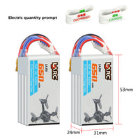 LDARC 14.8V 650mAh 50C 4S Lipo Battery Rechargeable With Electric Quantity Prompt Bracelet for 130GTI ET125 FPV Racing Drone