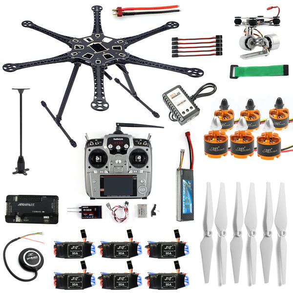 QWinOut Full Kit DIY RC Drone 6-axle Aircraft Kit HMF S550 Frame 6M GPS APM 2.8 Flight Control AT10II Transmitter Gimbal Camera Mount