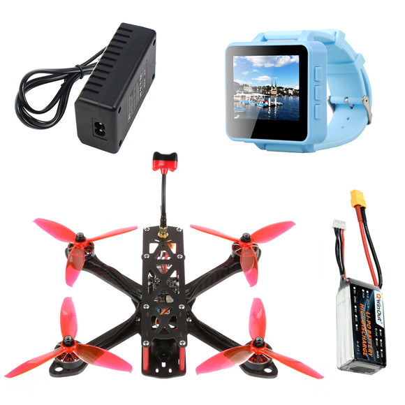 QWinOut T220 FPV Racing Drone RC Quadcopter BNF with FPV200 DVR FPV Watch 220mm Frame F7 AIO Flight Control 2306 2400KV 3-4S Motors FRSKY D8 Receiver