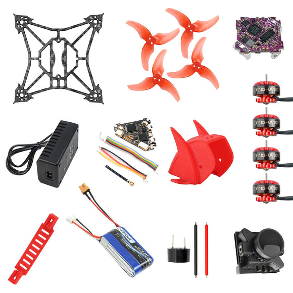 QWinOut T100 DIY FPV Racing Drone Kit with Supra F4-12A F4 Flight Control EX1103 2-4S Motor Razer Micro FPV Camera Diamond VTX