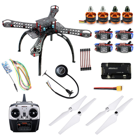 QWinOut DIY Drone Kit X4M380L 380mm Frame 2.4GHz 4CH BrushlessMotor One Key Return with APM 2.8 M7N GPS T8FB Transmitter RC Quadcopter