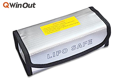 QWinOut Fireproof Explosionproof Lipo Battery Safe Bag/Sleeve Lipo Battery Guard Pouch Sack Charge Protection bag 185x75x60mm