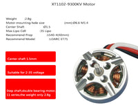 LDARC XT1102 1102 9300KV 1.5mm Shaft Double Bearing 2-3S Brushless Motor for ET75 Mobula7 HD FPV Racing Drone Cinewhoop