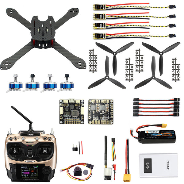QWinOut X300 DIY RC Drone Pro SP Racing F3 300mm 2.4G 10CH Transmitter Carbon Fiber Frame Brushless 700TVL Camera with FPV Display Quadcopter
