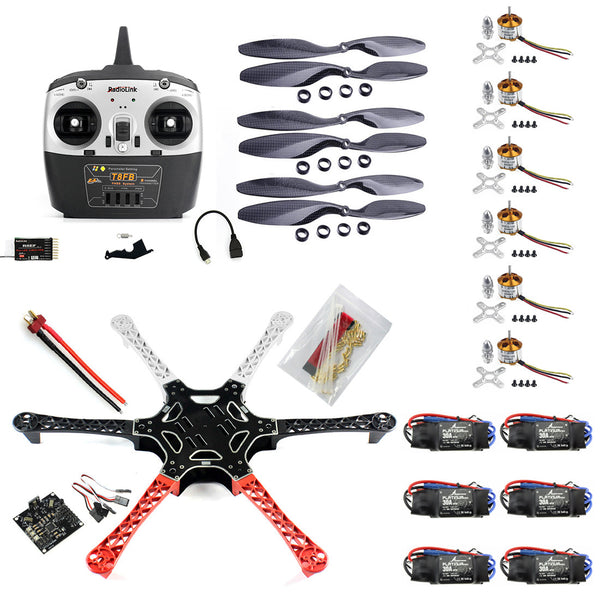 QWinOut DIY RC Drone Kit F550 Drone FlameWheel Kit With KK 2.3 HY ESC Motor Carbon Fiber Propellers + RadioLink 8CH TX RX