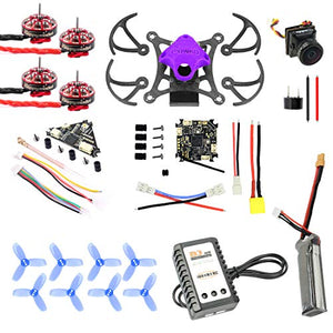 QWinOut T85 Frame DIY Quadcopter with 9000KV CW CCW Motors Crazybee F4 4 in1 FC 1.5inch 3-Blade Propellers 450MAH Battery (Purple)