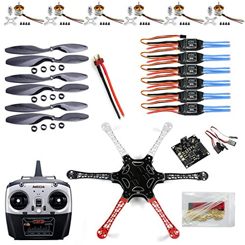 QWinOut Unassembly ARF (No Battery) DIY 2.4G 6Ch KK Multicopter Flight Control F550 Air Frame RC Hexacopter DIY Multicopter Drone Combo Set
