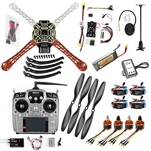 QWinOut DIY FPV Drone Quadcopter 4-axle Aircraft Kit :450 Frame + PXI PX4 Flight Control + 920KV Motor + GPS + AT10 Transmitter + Props