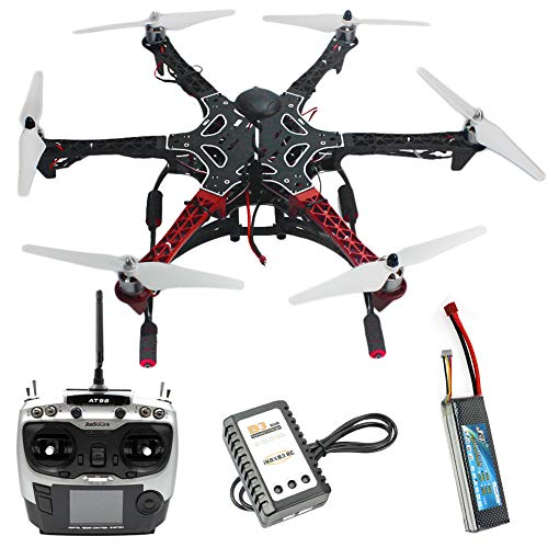 QWinOut Assembled Six Rotor RTF Full Set DIY 2.4G 9Ch F550 Air Frame Hexacopter Combo Drone APM 2.8 Flight Controller GPS Compass (Without Manual)