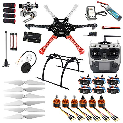 QWinOut Assembled RTF Full Set 2.4G 9Ch F550 APM2.8 GPS Compass Hexacopter Combo DIY Drone with 2-Axle Aluminum Gimbal Mount (No Manual)