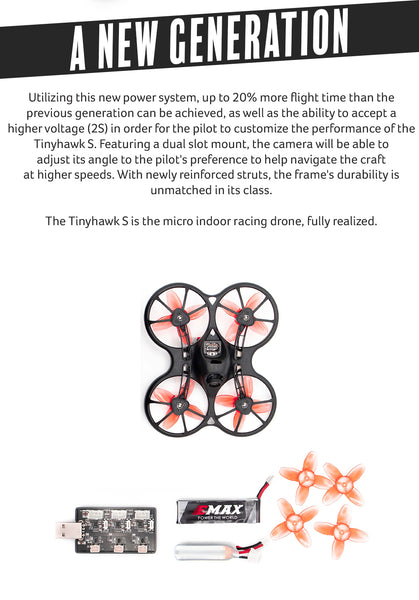 EMAX Tinhawk S 600TVL Indoor FPV Racing Drone F4 4in1 FC15500KV Motor 37CH 25mW VTX 1S-2S Battery BNF Version