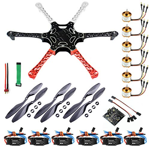 QWinOut F550 RC Hexacopter Unassembly DIY Drone PNF Combo Set KK Multicopter Flight Control Board (No Battery/TX/RX)