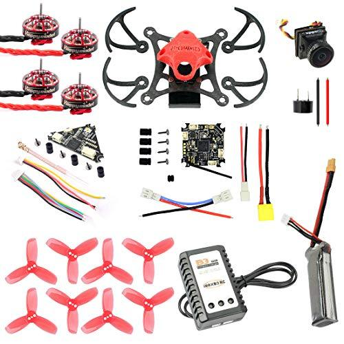 QWinOut T85 Frame DIY Quadcopter with 9000KV CW CCW Motors Crazybee F4 4 in1 FC 1.5inch 3-Blade Propellers 450MAH Battery (Red)
