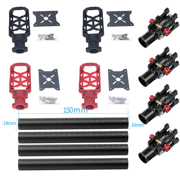 JMT 4PCS 16MM*14MM*150MM 3K Carbon Fiber Tube with 16mm Clamp Type Motor Mount Plate Holder & Z16 Folding Arm Tube Joint for 4-axle Aircraft RC Quadcopter DIY Copter Drone